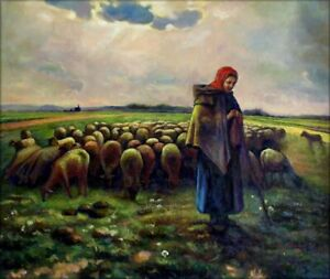 Hand-Painted-Oil-Painting-Repro-Jean-Millet-Shepherdess-amp-Her-Flock-20x24in