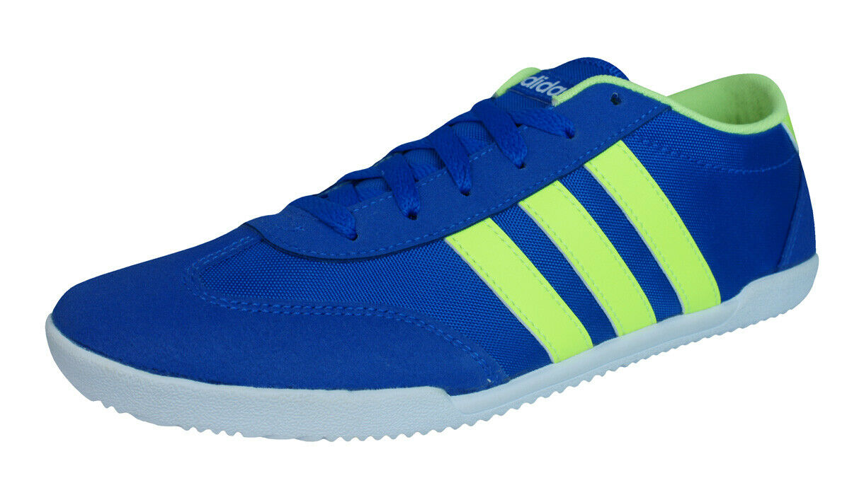Adidas Neo V Trainer VS Mens Sneakers Casual Low-Top shoes bluee Yellow-Stripes