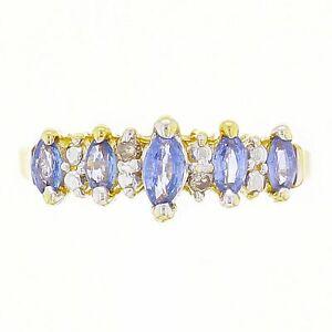 14k-Yellow-Gold-Graduate-Marquise-Tanzanite-amp-Diamond-Accent-Band-Ring-Size-5-75