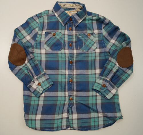 SCOTCH SHRUNK Boys Blue Green Cottton Checked Tartan Long Sleeve Shirt Top BNWT