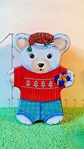 Christmas-Bear-Tin-Collectible-Home-Decor-Red-blue-white