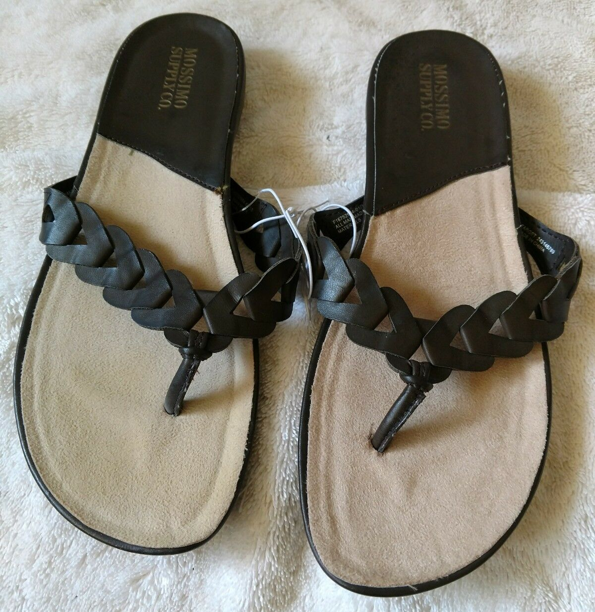 WOMEN'S BROWN T-STRAP SLIDE SANDALS SIZE 7 BRAIDED - STRAP NEW W/O TAGS - BRAIDED MOSSIMO 43cae1