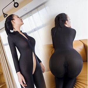 Women s Sexy Sheer Smooth Bodysuit Zipper Jumpsuit Romper Open ... ef43c4d2c