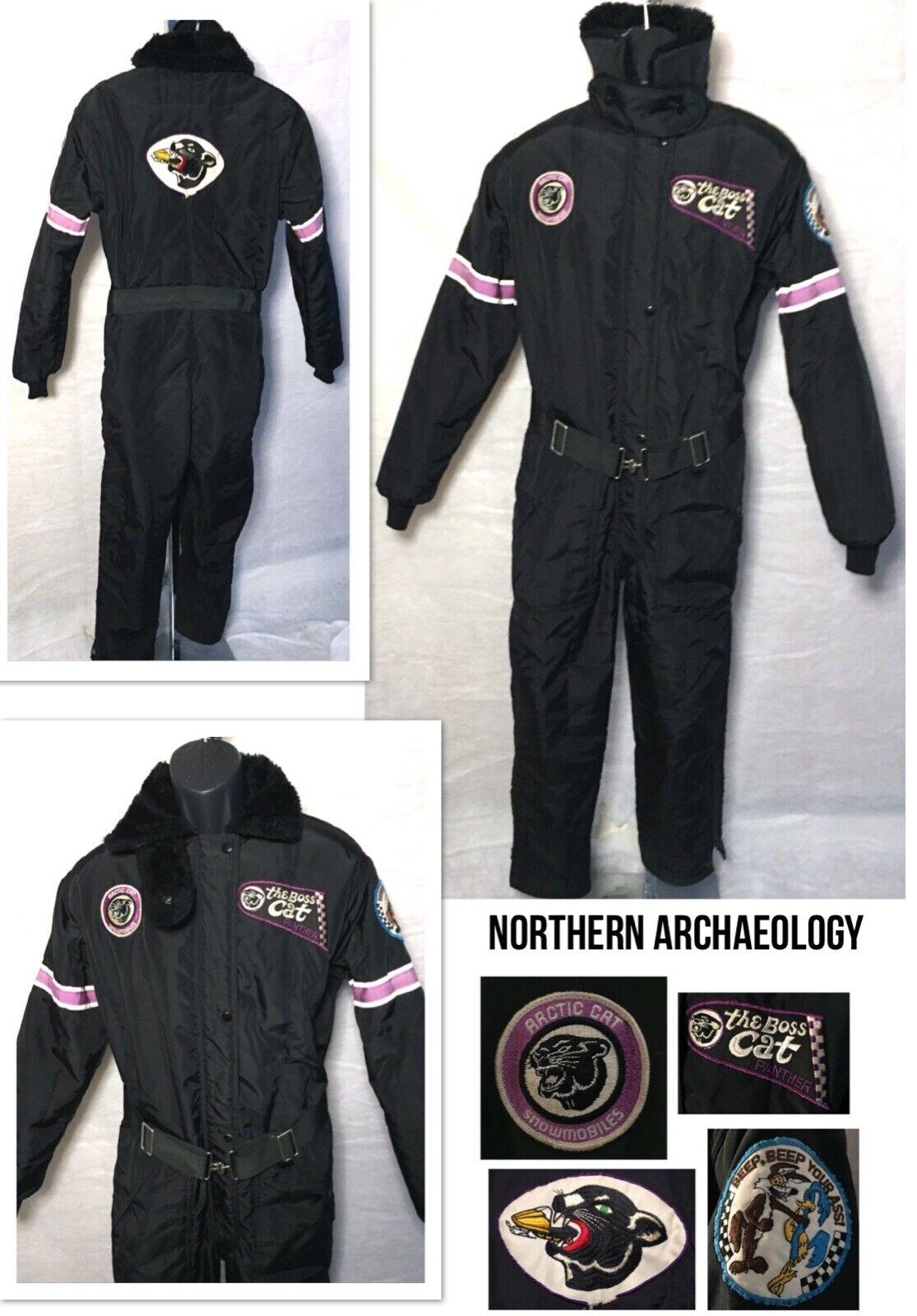 Vtg RARE 70s Arctic Cat Snowmobile 1 piece suit Patches Panther Dekalb Sz M