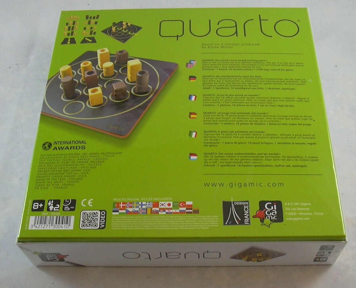 Quarto Board Game Gigamic France 1991 Factory Sealed Sealed Sealed Wooden Pieces Strategy 3063e7