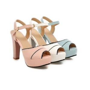 Womens-Shoes-Synthetic-Leather-Platform-High-Heels-Strappy-Sandals-US-Size-s204