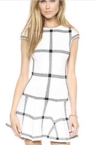 Olivia Selma Checkered Drop Waist Dress Knit White Black Size XS NWOT Alice