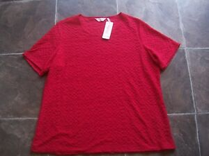 BNWT-Plus-Size-Women-039-s-Red-Textured-Short-Sleeve-Top-Size-20
