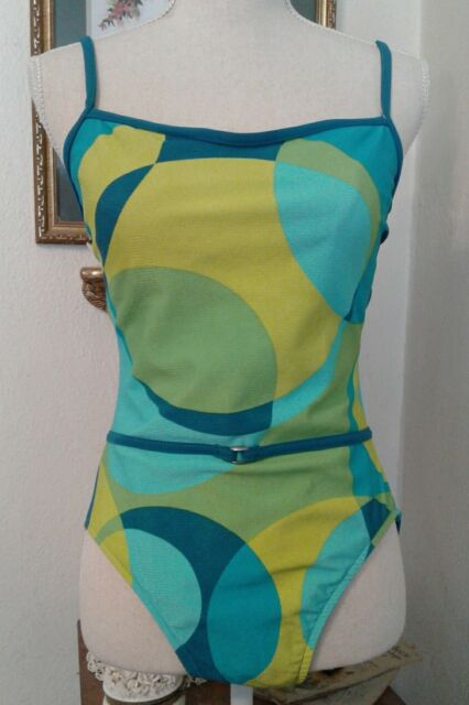 Jantzen Womens Size 14 Swimsuit Blue Lime Green Teal One Piece Soft Cup Bra