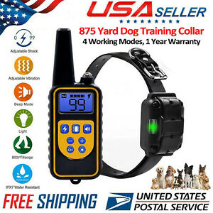 875 Yard Dog Shock Training Collar W/ Remote Waterproof Electric For Large Pet