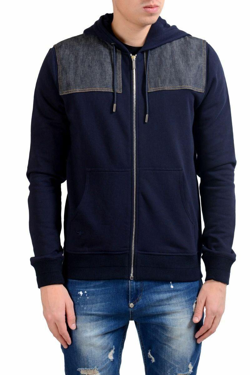 Christian Dior Men's Blue Fleece Full Zip Hoodie Size M L XL