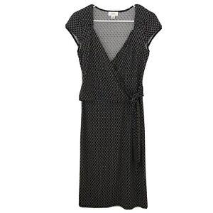 Ann-Taylor-LOFT-Faux-Wrap-Dress-Black-White-Tan-Geometric-Print-Size-6