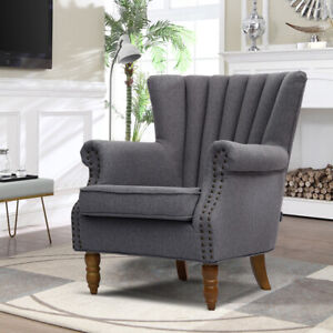Miraculous Details About Upholstered Oyster Wing Back Armchair Scalloped Chair Nailhead Fabric Sofa Seat Andrewgaddart Wooden Chair Designs For Living Room Andrewgaddartcom