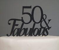 Black 50 & Fabulous Cake Topper, New, Free Shipping