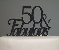 Black 50 & Fabulous Cake Topper, New, Free Shipping