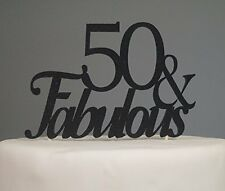 Black 50 Fabulous Cake Topper Decoration for 50th Birthday Party