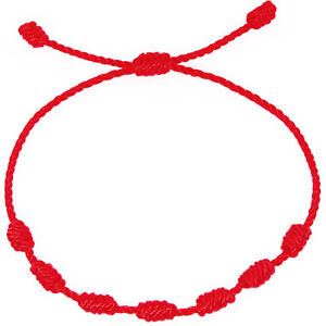 Lucky-red-string-bracelet-Kabbalah-Amulet-7-Knots-Protection-Rope-man-or-women
