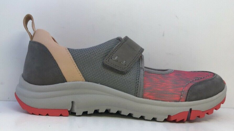 Clarks Damenschuhe Grau/Pink Trainers With Adjustable Straps Uk 4D