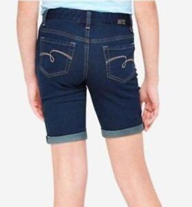 NWT Justice Kids Girls Size 6 or 7 Bermuda Dark Wash Stretch Denim Jean Shorts