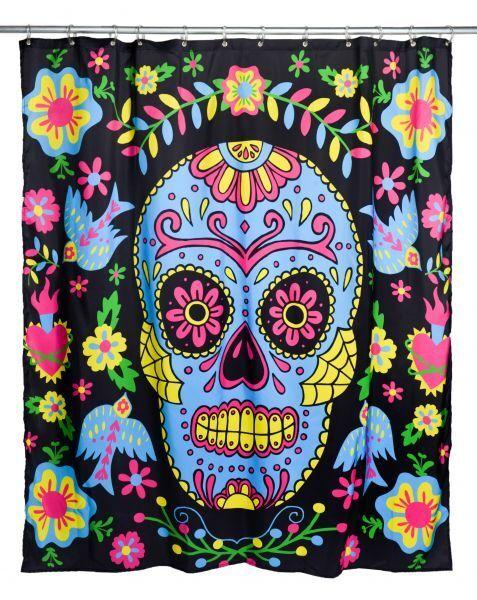Too Fast-Tenda doccia Tatuaggio Mexican Mexican Mexican embroidery (Nero) b3e077