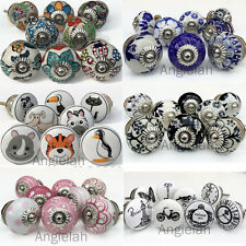 8 PACK CERAMIC DOOR KNOBS Drawer Pulls Cupboard Handles Vintage Artisan Kids SET