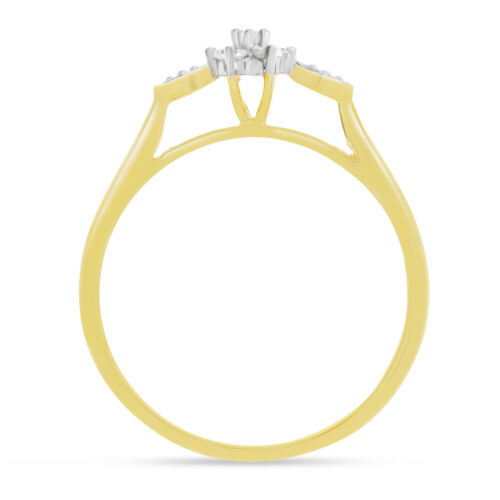 Details about  /14K Yellow Gold Diamond Cluster Ring