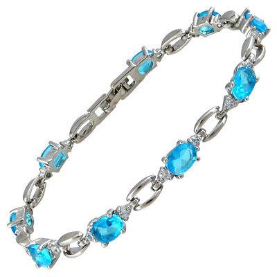 Sarotta Jewelry Sale Aquamarine Topaz White Gold Gp Tennis Bracelet Fashion