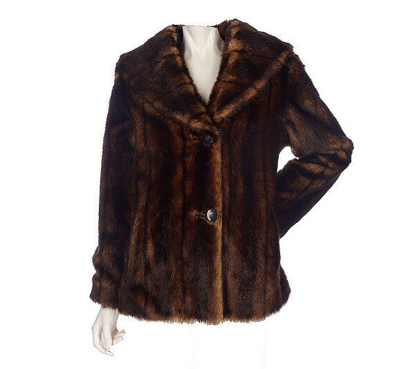 Womans Janie Bryant MOD 2 Button Fully Lined Faux Fur Coat Size Small Beautiful