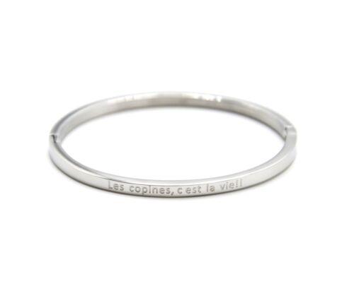 BC3860F Bracelet Enfant Jonc Fin Acier Argenté avec Message Les copines c/'...