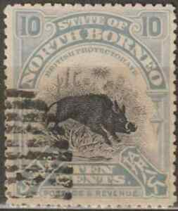 NORTH-BORNEO-1909-PICTORIAL-10c-WILD-BOAR-CTO