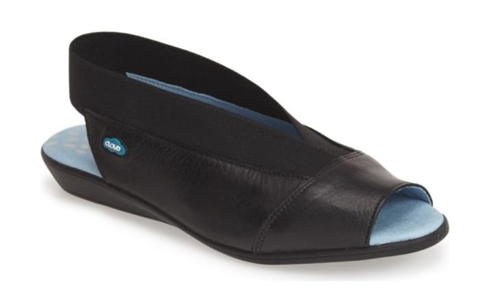 Cloud Caliber Black Peep Toe Slingback Leather Sandal Womens sizes 36-42 6-11NEW