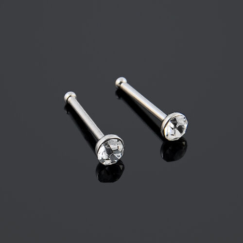 24PCS Surgical Steel Rhinestone Crystal Nose Ring Stud Body Piercing Jewelry hs