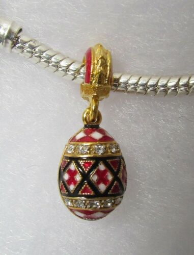 Jewelry Bracelet Charm Ukrainian Sliding Egg Pysanka Red Embroidery Enamel