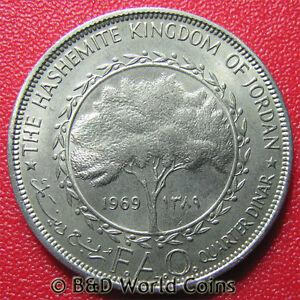 1969-JORDAN-1-4-DINAR-FAO-SERIES-OLIVE-TREE-WORLD-COIN-COPPER-NICKEL-17gr-34mm
