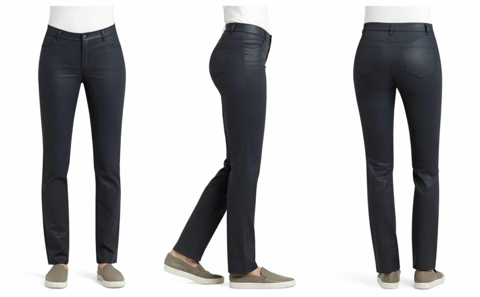 NWT LAFAYETTE 148 NEW YORK WAXED STRAIGHT SLIM WOOSTER JEANS 0 INK  298