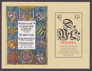 Germany-DDR-2378-MNH-OG-1983-MARTIN-LUTHER-1m-Souvenir-Sheet-Bible-Quote