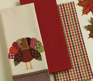 3 Piece Kitchen Towel Set Red Plaid Embroidered Thanksgiving Holiday Turkey Ebay
