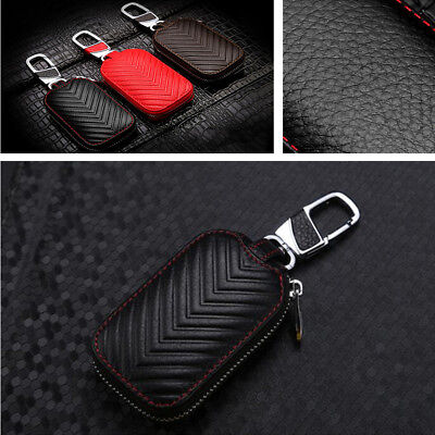 1x Car Key Chain Genuine Leather Coin Holder Case Cover  Remote Fob Bag Wallet