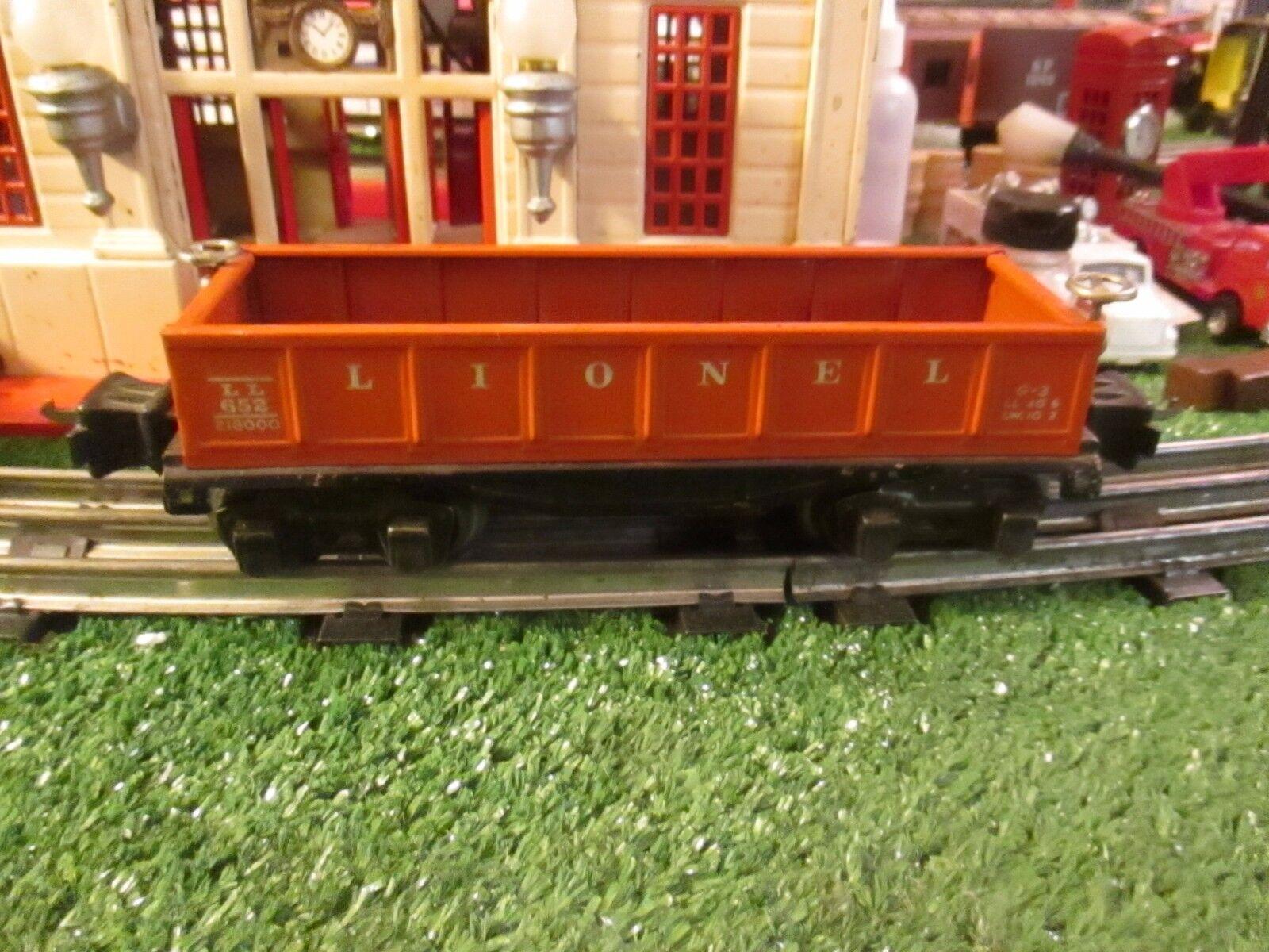 LIONEL PREWAR 652 TIN TYPE L orange GONDOLA CAR EXC ORIG COND 1935-40
