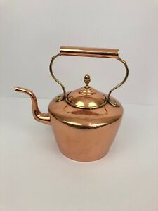 Vintage large copper kettle with brass handle antique tea kettle