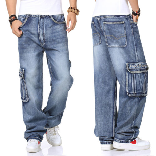 Plus Size Men Jeans Relaxed Street Wear Cargo Baggie Pant Stone Wash Baggy 30-46