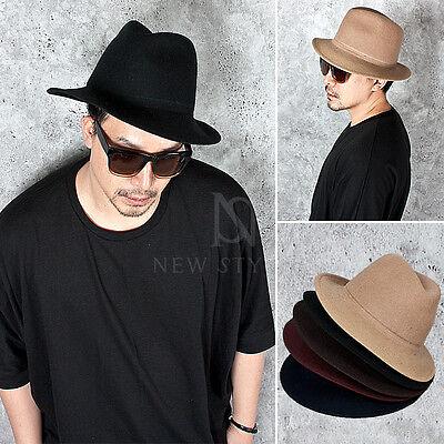 NewStylish Mens Fashion Accessories Hat Plain Long Brim Wool Fedora