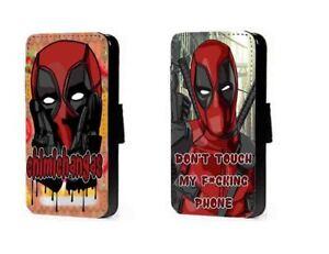 d583a770c La imagen se está cargando Deadpool-inspirado-telefono-caso-chimichanga- Cuero-Billetera-Abatible-