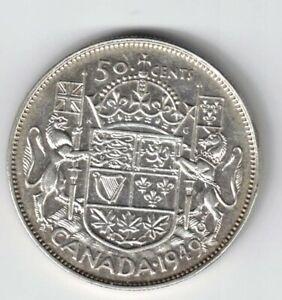 CANADA-1949-50-CENT-HALF-DOLLAR-GEORGE-VI-CANADIAN-800-SILVER-COIN