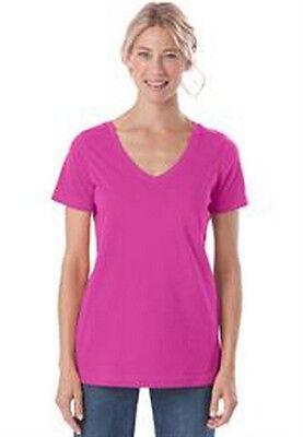 Women's Plus Closer Fit T-Shirt V-neck Hot Pink Combed Cotton