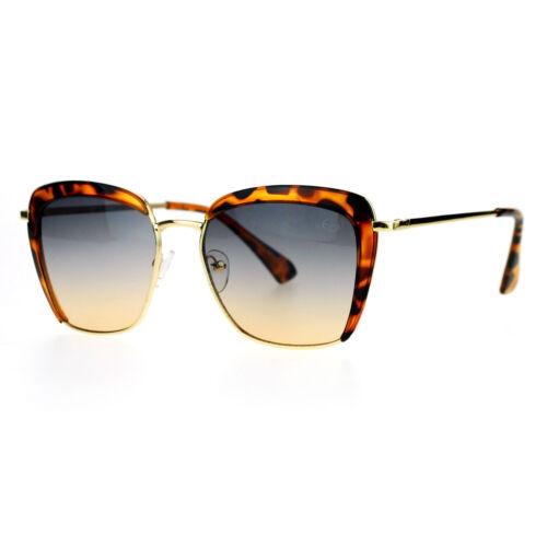 SA106 Retro Half Rim Brow Boyfriend Rectangular Designer Fashion Sunglasses