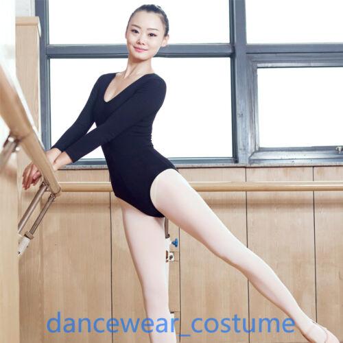 Damen Ballett Trikot Body Langarm Gymnastikanzug Tanzanzug Turnanzug Bodysuit