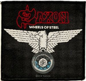 Official-Licensed-Merch-Woven-Sew-on-PATCH-Metal-Rock-SAXON-Wheels-of-Steel