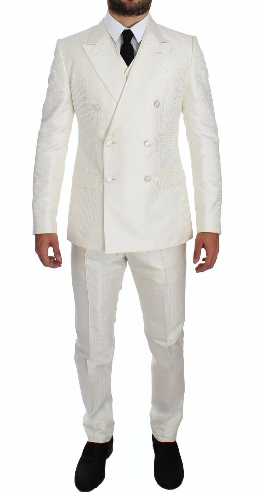 NWT 3200 DOLCE & GABBANA Weiß Silk Double Breasted 3 Piece Suit EU48 / US38 /M