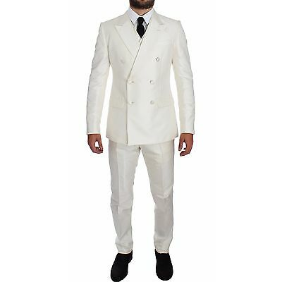 NWT $3200 DOLCE & GABBANA White Silk Double Breasted 3 Piece Suit EU48 / US38 /M